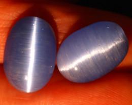 Agate Cat Eye 10.66Ct 2Pcs Natural Blue Agate Cat Eye E2604/C1