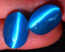 Agate Cat Eye 10.67Ct 2Pcs Natural Blue Agate Cat Eye E2605/C1