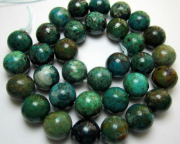 HIGH QUALITY, POLISHED, NATURAL 12MM CHRYSOCOLLA BEAD STRAND