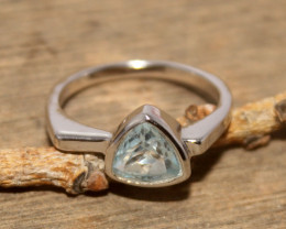 Natural Blue Topaz 925 Silver Ring 425
