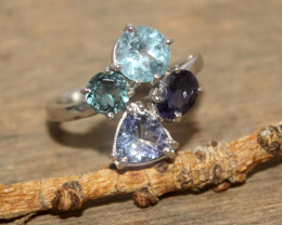 Natural Tanzanite, Iolite & Topaz 925 Silver Ring 415