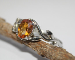 Natural Citrine 925 Silver Ring 384