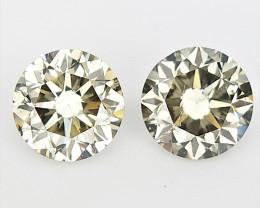 2/0.38 cts, Round Brilliant Cut , Light Colored Diamond