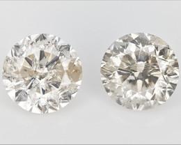 2/ 0.43 CTS , Round Brilliant Cut , Light Colored Diamond