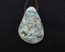 200cts Chrysocolla Stone Pendant, Raw Chrysocolla Healing stone H1718