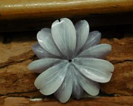 African sodalite carved flower pendant (G2665)