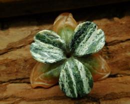 Orange aventurine green zebra carved flower pendant (G2667)