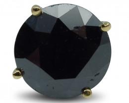 3.18 cts. Black Diamond Single/Men's Stud Earring in 14kt Yellow Gold