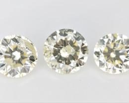 3/ 0.85 CTS , Round Brilliant Cut , Light Colored Diamond