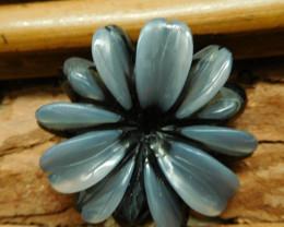 Gemstone obsidian white jade carved flower pendant (G2673)