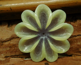 Yellow jade carved flower pendant bead (G2674)