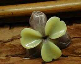 Nephrite carving flower pendant yellow jade (G2676)