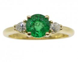 Emerald & Diamond Three Stone Ring in 18kt Yellow Gold