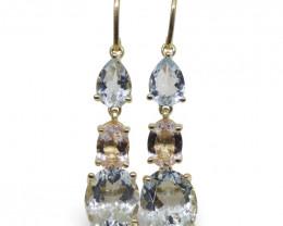 5.76ct Aquamarine, 1.20ct Morganite Earrings set in 14kt Yellow Gold