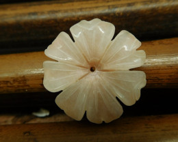 Pink quartz opal carving flower bead (G2695)
