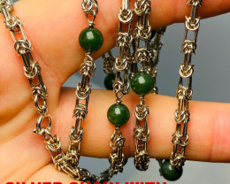 222 CT - 10 JADE BALLS  NECKLACE  - NEW SILVER NECKLACE   - GORGEOUS!