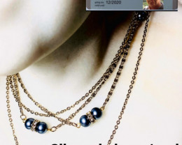 105 CT - 8 TAHITI PEARLS AND 28 ZIRCON NECKLACE- NEW - GORGEOUS!