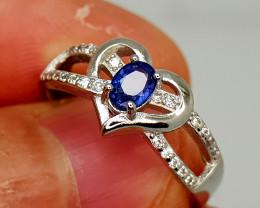14Crt Blue Sapphire 925 Silver Ring 7.5 Natural Gemstones JI137