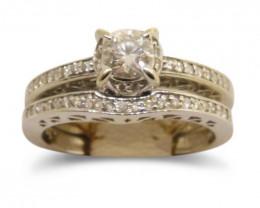 0.32 ct. Diamond Bridal Rings Set - 14kt White Gold - GS Laboratories Certi