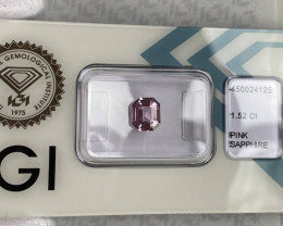 1.52ct FINE Pink Ceylon Sapphire UNTREATED Emerald Cut IGI CERTIFIED Rare G