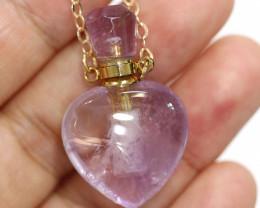 Heart shape Amethyst Gemstone Perfume Bottle Necklace AHA 268