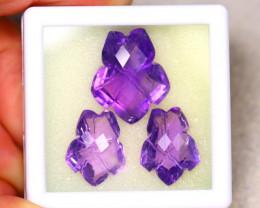 Amethyst 27.06Ct 3Pcs Natural Uruguay Electric Purple Amethyst ER477/C3