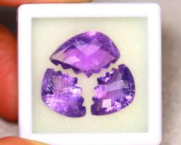 Amethyst 24.23Ct 3Pcs Natural Uruguay Electric Purple Amethyst ER478/C3