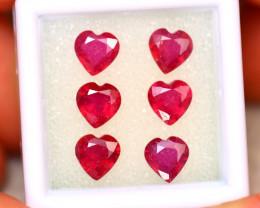 Ruby 5.55Ct 6Pcs Heart Shape Madagascar Blood Red Ruby ER486
