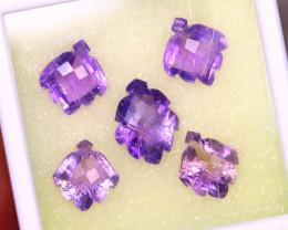 Amethyst 30.10Ct 5Pcs Natural Purple Color Violet Amethyst ER494/C3