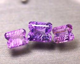 Amethyst 7.94Ct 3Pcs Natural Uruguay VVS Electric Purple Amethyst  ER497/C3