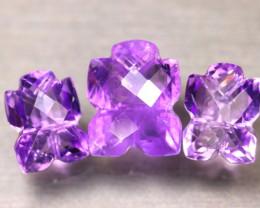 Amethyst 24.76Ct 3Pcs Natural Uruguay Electric Purple Amethyst ER500/C3