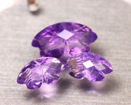 Amethyst 13.03Ct 3Pcs Natural Uruguay Electric Purple Amethyst ER502/C3