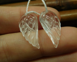 Clear quartz carving wing pairs (G2696)