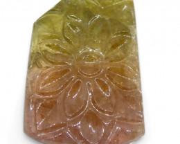 21ct Bi-Color Tourmaline Flower Carving- $1 No Reserve Auction