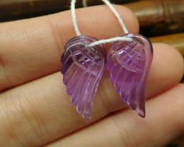 Natural gemstone amethyst carving wing pair (G2701)