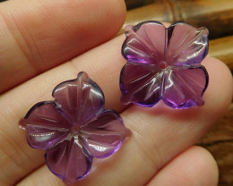 Stone amethyst carving flower pair (G2705)