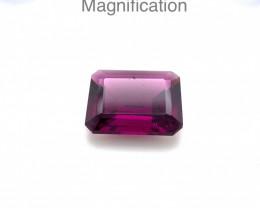 3.49ct Emerald Cut Rhodolite Garnet- $1 NR Auction