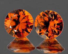 6.00 mm Round 2 pcs 2.63cts Orange Zircon [VVS]