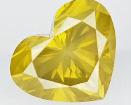 0.85 cts ,Rarest Yellow Color Diamond , Heart Cut Diamond
