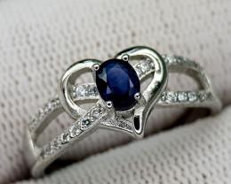 14CT BLUE SAPPHIRE 925 SILVER RING 9 BEST QUALITY GEMSTONE IIGC02