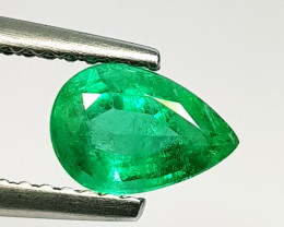 0.88 ct AAA Green Gem Superb Pear Cut Natural Emerald
