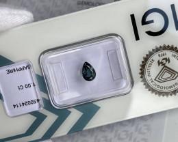 'Teal' Green Blue 1.00ct UNTREATED Sapphire Pear Teardrop Cut IGI CERTIFIED