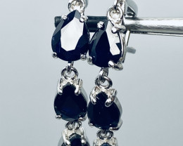 31 CT-  DARK BLUE SAPPHIRE EARRINGS GOLD PLATED HIGHEST QUALITY JEWELRY FOR