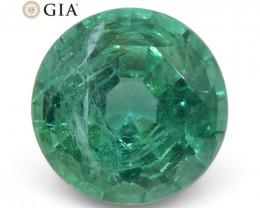 1.5ct Round Emerald GIA Certified Zambian