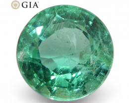 1.75ct Round Emerald GIA Certified Zambian