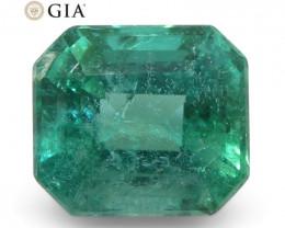 2.11ct Octagonal/Emerald Cut Emerald GIA Certified Zambian