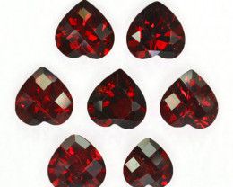 9.00 Cts Natural  Red Rhodolite Garnet 7mm  Heart Checker board 7Pcs