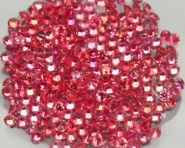 250Pc/3.87 Ct/1.4-1.5mm.Round Diamond Cut 100% Natural Imperial Red Sapphir