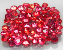 70 Pc/3.46 Ct/1.8-2.2 mm.Round Diamond Cut 100% Natural Imperial Red Sapphi