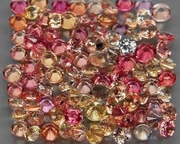 107Pcs/3.17 Ct./ 1.6-1.9mm. Round Diamond Cut Natural Fancy Color Sapphire